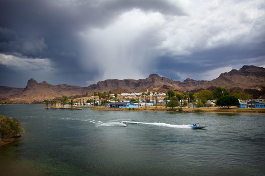 Speed boat on Colorado River near Parker Strip AZ.